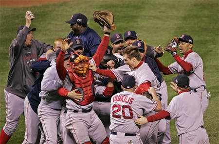 Red Sox Celebrate after winning the 2007 Championship