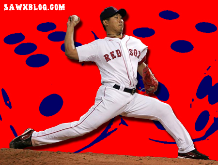 Dice-K has pitched like the mythic pitcher of our dreams recently. (SawxBlog Illustration)