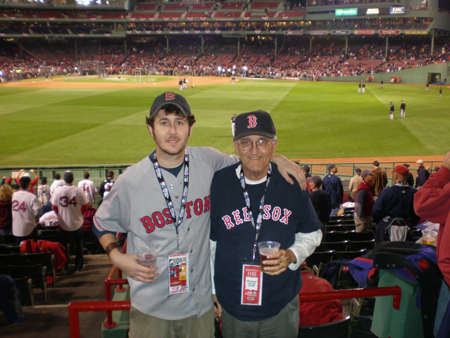 My Dad and I enjoying a beer at Game 1 of 2007 World Series. (SawxBlog Photo)