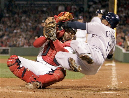 V-Tek tags out Carl Crawford at home in a rare Game 3 highlight.
