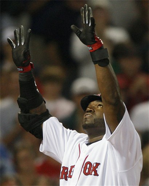 Big Papi gives thanks after his first HR since coming off of the DL