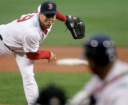 Josh Beckett throws one home against the Rays last night