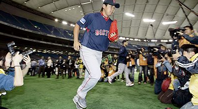 Dice K makes his way to the field