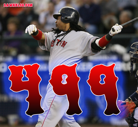 Manny Ramirez watches number 499 sail to the opposite field