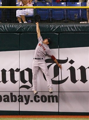 Jacoby Ellsbury is just out of reach of Carlos Peña's HR last night