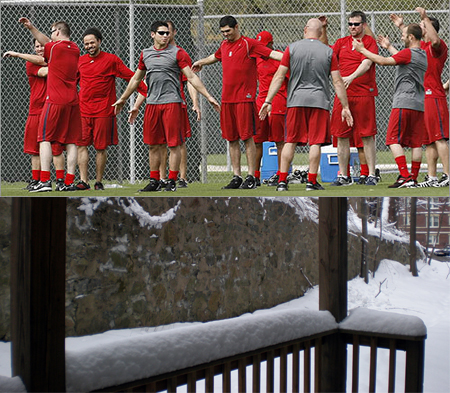 Red Sox players stretch down at City of Palms as I sit in a snowed in Boston